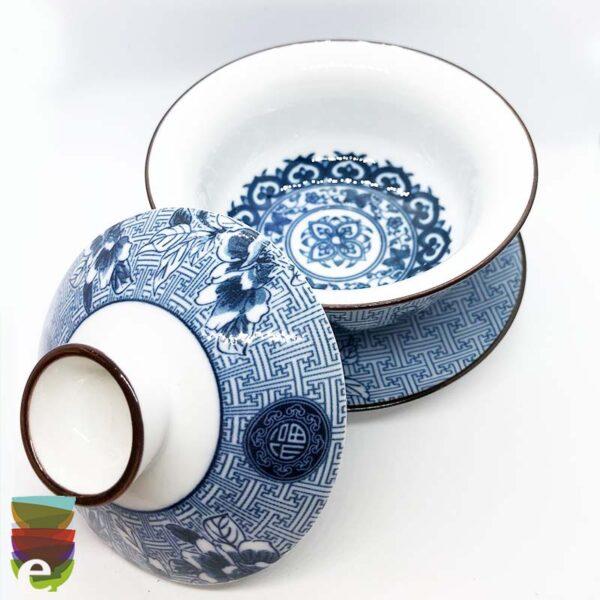 Tazza da tè bianca e blu 2